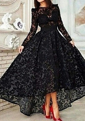Vestido Black Hi-lo Long Sleeves Prom Dresses Sheer Lace Evening Gowns_1