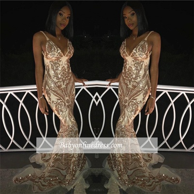 Luxury Spaghetti Straps Sleeveless Gold Prom Dresses | Mermaid Appliques 2021 Evening Gowns_1