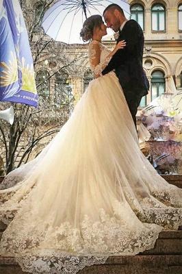 Elegant Tulle Long Sleeves V-Neck Appliques Wedding Dresses with Detachable OverSkirt_2