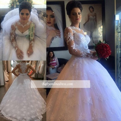 Delicate  White Lace Appliques Wedding Dress 2021 Long-Sleeve A-line Bridal Gowns_1