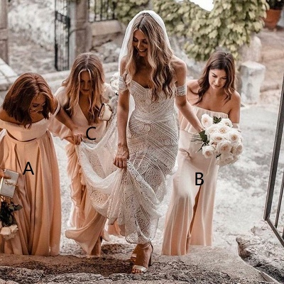 Elegant Long A-Line Bridesmaid Dresses | Off-The-Shoulder Maid Of The Honor Dresses_3