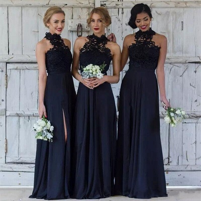 Cheap Dark Navy A-Line Bridesmaid Dresses | Halter Lace Side Slit Maid Of The Honor Dresses_2