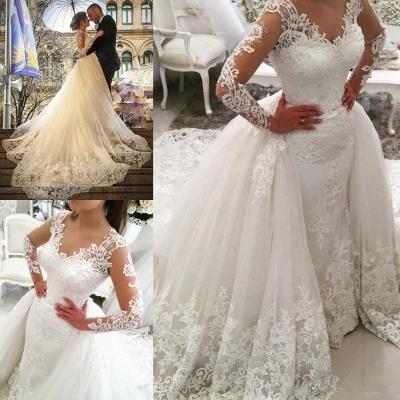 Elegant Tulle Long Sleeves V-Neck Appliques Wedding Dresses with Detachable OverSkirt_5