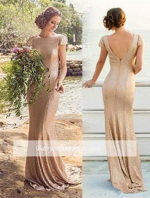 Zipper Short-Sleeve Elegant Long Sequined Bridesmaid Dresses_1