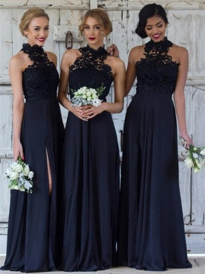Cheap Dark Navy A-Line Bridesmaid Dresses | Halter Lace Side Slit Maid Of The Honor Dresses_1