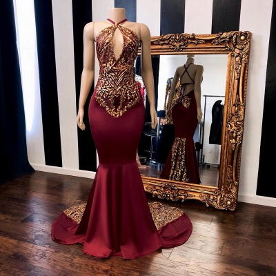Sexy Burgundy Gold Prom Dresses | Halter Neck Open Back Mermaid Evening Gowns_2