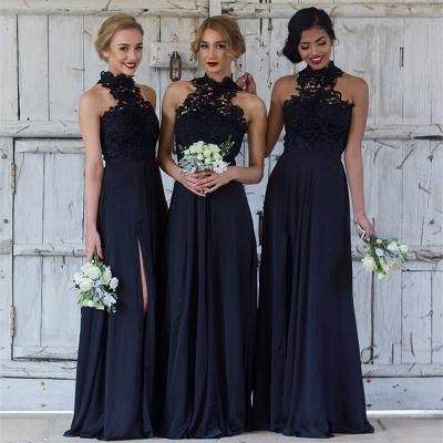 Elegant Dark Navy Halter Lace Side Slit Sheath Bridesmaid Dresses_4