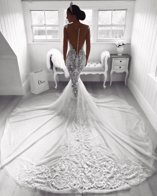 Sexy Lace Mermaid Wedding Dresses | See-Through Cap Sleeves Tulle Bridal Gowns_3