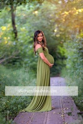 Off-the-shoulder Maternity Dresses | Stretchy Long Baby Shower Dresses_4
