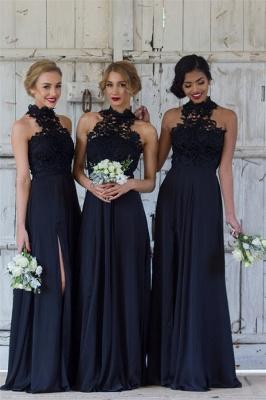 Elegant Dark Navy Halter Lace Side Slit Sheath Bridesmaid Dresses_1