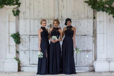 Elegant Dark Navy Halter Lace Side Slit Sheath Bridesmaid Dresses_3