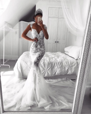 Sexy Lace Mermaid Wedding Dresses | See-Through Cap Sleeves Tulle Bridal Gowns_5