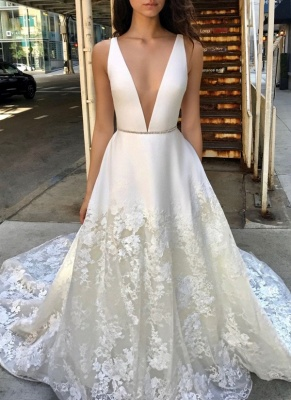 Sexy Deep V-Neck Wedding Dresses | Sleeveless Appliques A-line Bridal Gowns_2