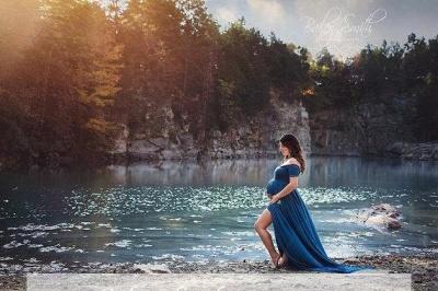 Off-the-shoulder Maternity Dresses | Stretchy Long Baby Shower Dresses_3