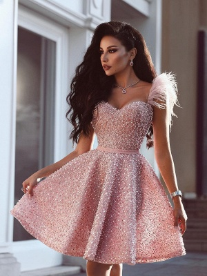 Pink Beading A-Line Homecoming Dress | Luxury Feather Short Party Dress BC0668_1