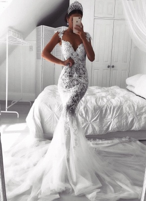 Sexy Lace Mermaid Wedding Dresses | See-Through Cap Sleeves Tulle Bridal Gowns_1