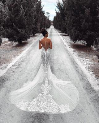 Sexy Lace Mermaid Wedding Dresses | See-Through Cap Sleeves Tulle Bridal Gowns_4