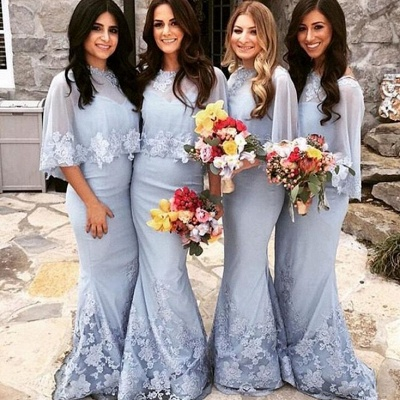 Elegant Butterfly Sleeves Bridesmaid Dresses | Lace Appliques Mermaid Wedding Party Dresses_3