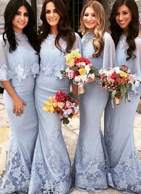 Elegant Butterfly Sleeves Bridesmaid Dresses | Lace Appliques Mermaid Wedding Party Dresses_1