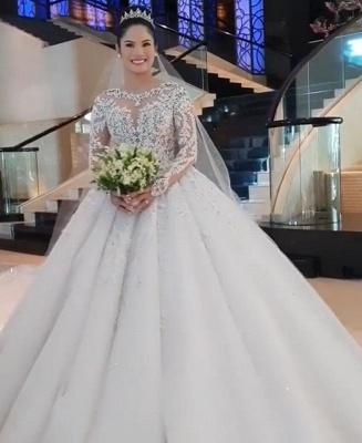 Gorgeous Long Sleeve Applique Sequin Bll Gown Wedding Dresses_6