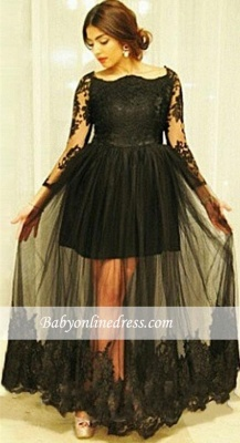Gorgeous Floor-Length Long Sleeves Lace Black Tulle Maternity Dresses_3
