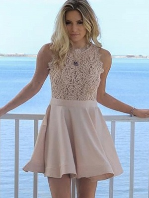 Exquisite A-Line Short Homecoming Dresses | Jewel Sleeveless Lace Graduation Dresses BC0978_1