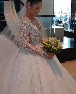 Gorgeous Long Sleeve Applique Sequin Bll Gown Wedding Dresses_4