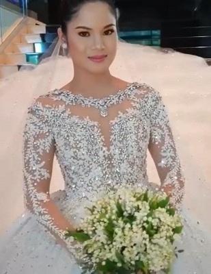 Gorgeous Long Sleeve Applique Sequin Bll Gown Wedding Dresses_3