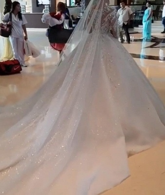 Gorgeous Long Sleeve Applique Sequin Bll Gown Wedding Dresses_5