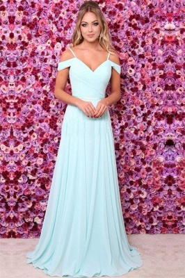 Elegant A-line Off-the-shoulder Formal Ruffels Evening Dress_1