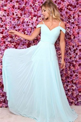 Elegant A-line Off-the-shoulder Formal Ruffels Evening Dress_2
