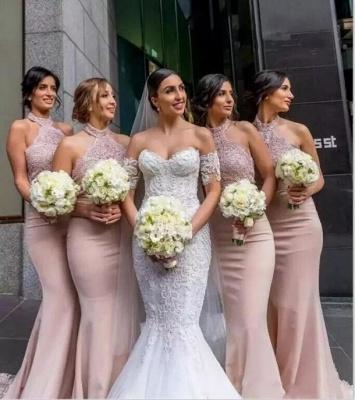 Elegant Lace Mermaid Bridesmaid Dresses | Sexy Halter Long Wedding Party Dresses_3