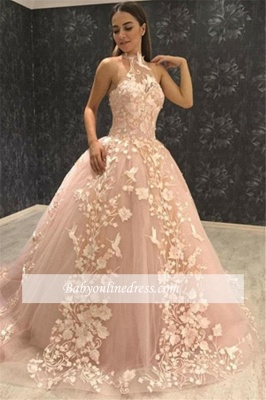 Elegant Halter Sleeveless Prom Gowns | Tulle Ball Gown Evening Dresses_2