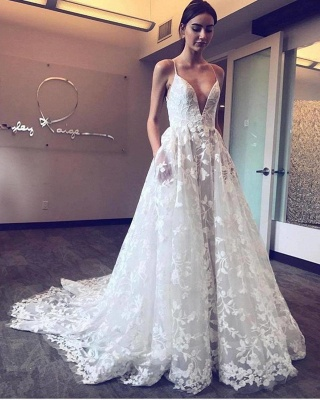 Chic Lace A-Line Wedding Dresses | Spaghetti Straps Appliques Long Bridal Gowns_2