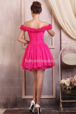 Wholesale Evening Dresses 2021 Off-the-shoulder Ruffle Chiffon Dress Short On Line BO0693_3