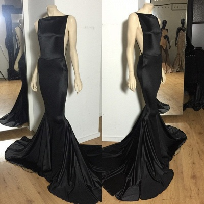 2021 Prom Dresses Black Backless Bateau Neck Spaghettis Court Train Mermaid Evening Gowns_1