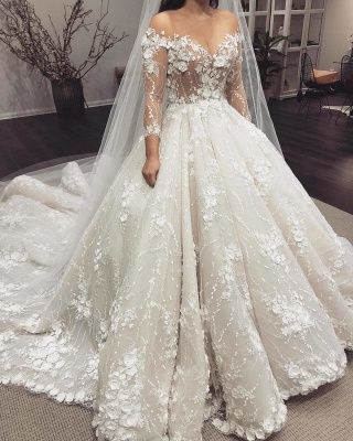 Gorgeous 3D-Floral Appliques Wedding Dresses | Long Sleeves Ball Gown Bridal Gowns_3