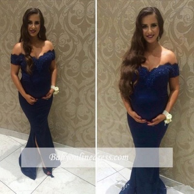 Beads Maternity Newest Sweep-Train Off-the-shoulder Front Slit Baby Shower Dress_1