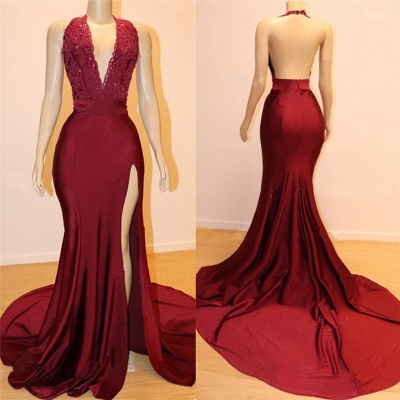 Sexy Burgundy Backless Prom Dresses   Deep V-Neck Open Back Evening Gowns_2