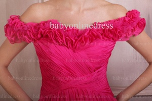 Wholesale Evening Dresses 2021 Off-the-shoulder Ruffle Chiffon Dress Short On Line BO0693_2