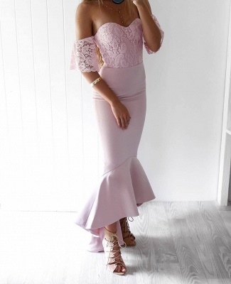 Off-The-Shoulder Mermaid Prom Dresses | High-Low Lace Bridesmaid Dresses_4