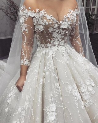Gorgeous 3D-Floral Appliques Wedding Dresses | Long Sleeves Ball Gown Bridal Gowns_2