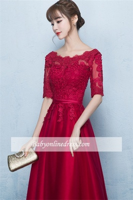 A-Line Lace Lace-Up Floor-Length Half-Sleeves Glamorous Evening Dresses_4