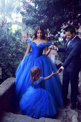 Royal Blue Ball Gown Princess Off Shoulder Stunning Flower Girl Dress
