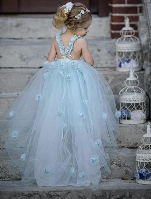Romantic Princess Flower Girl's Dresses | Light Sky Blue Ball Gown Long Girl's Party Dress_3
