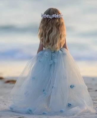Romantic Princess Flower Girl's Dresses | Light Sky Blue Ball Gown Long Girl's Party Dress_6