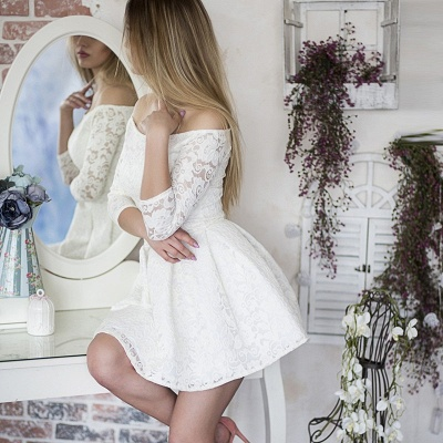 White Lace A-Line Homecoming Dresses | Off-The-Shoulder 3/4 Long Sleeves Short Graduation Dresses_3
