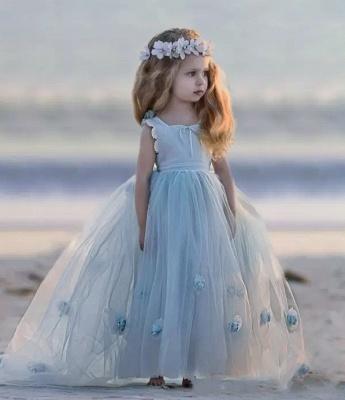 Romantic Princess Flower Girl's Dresses | Light Sky Blue Ball Gown Long Girl's Party Dress_5