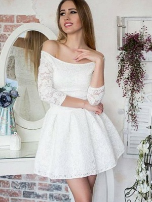 White Lace A-Line Homecoming Dresses | Off-The-Shoulder 3/4 Long Sleeves Short Graduation Dresses_1