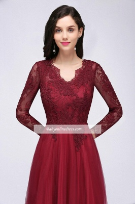 Long-Sleeves V-Neck Floor-Length Burgundy A-line Prom Dresses_7